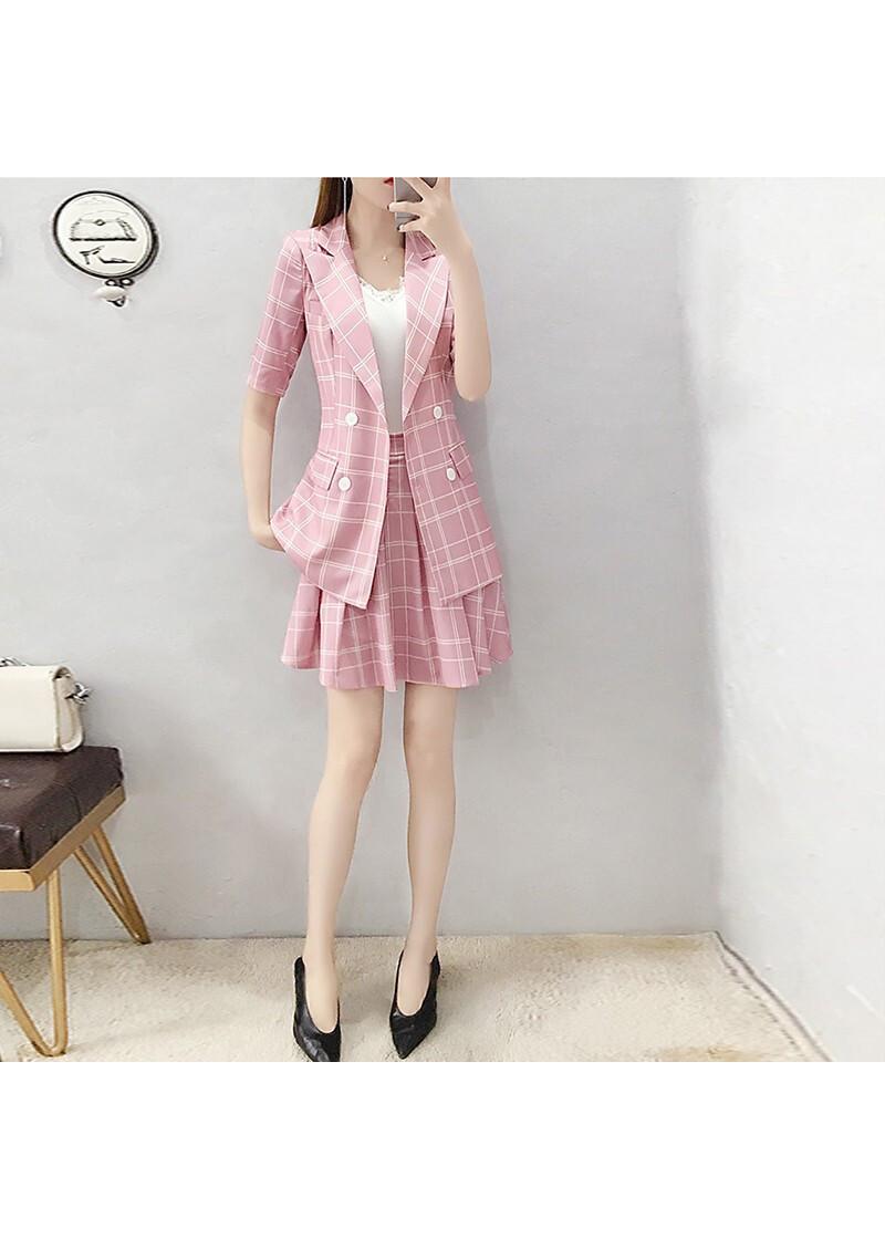 1624484026333 - Set áo và chân váy caro hồng NT4412N - ko kèm áo trắng