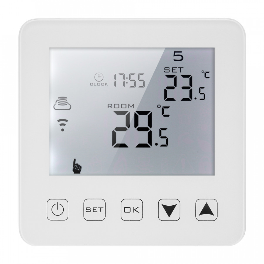 16A Programmable Electric Heating Thermostat LCD Touchscreen With White Backlight Temperature Controller Voice Control