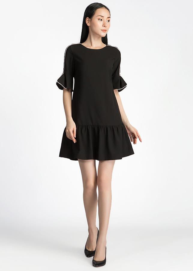 Đầm Suông Đuôi Cá Tay Nơ De Leah -  Đen