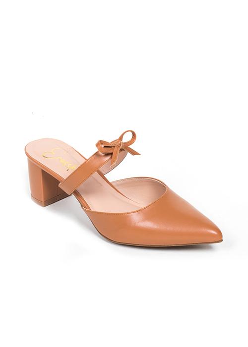 Giày Nữ, Giày Mules Erosska Cao Gót 5cm Thời Trang Phối Quai Nơ _ EH026 (Màu Đen)