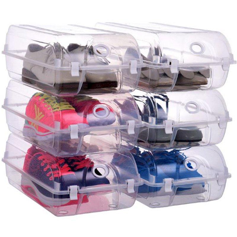 Bộ 6 hộp đựng giày nhựa trong suốt hộp giày đóng mở xếp gọn