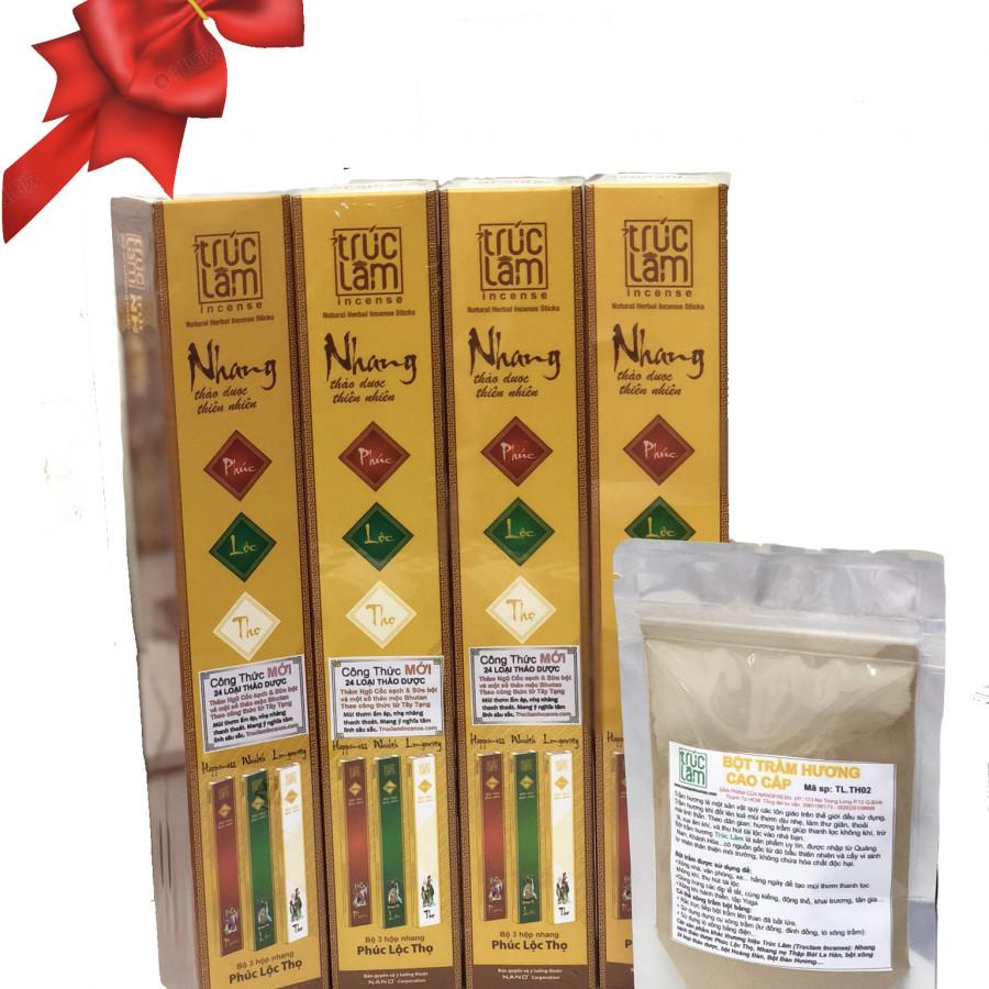 Combo 4 Hộp Nhang Sạch Thảo Dược + 1 Túi bột trầm hương cao cấp