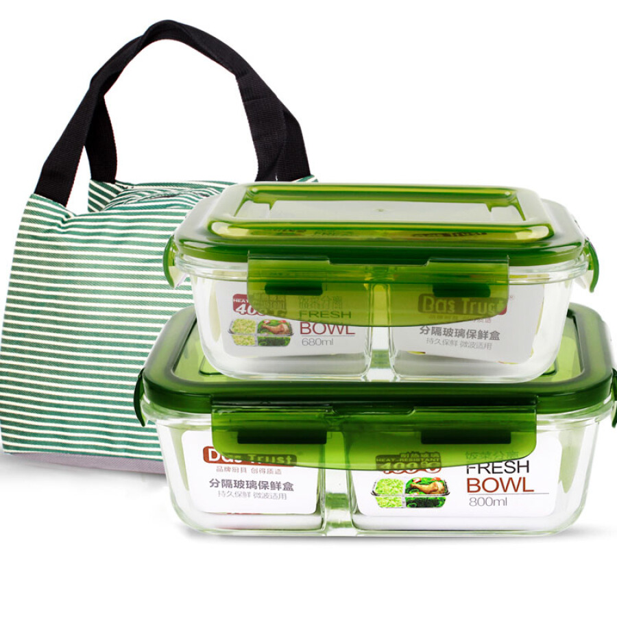 DADER (DASTRUST) compartment heat-resistant glass storage box microwave lunch box separated lunch box two-piece 680ml+800ml green gift package - 1609071 , 5958844025183 , 62_9087218 , 377000 , DADER-DASTRUST-compartment-heat-resistant-glass-storage-box-microwave-lunch-box-separated-lunch-box-two-piece-680ml800ml-green-gift-package-62_9087218 , tiki.vn , DADER (DASTRUST) compartment heat-resis