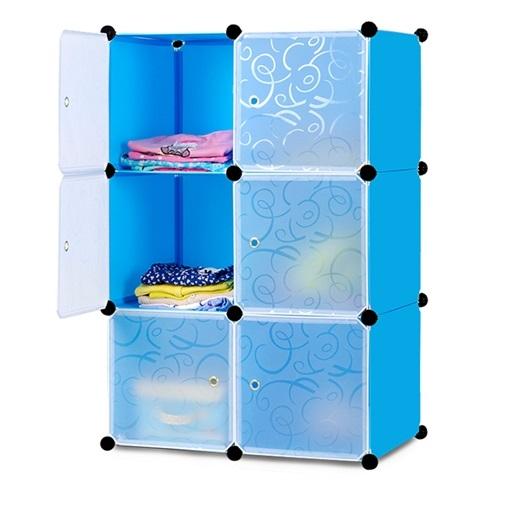 Tủ nhựa ghép đa năng 6 ngăn D6019 (72 x 37 x 110 cm)