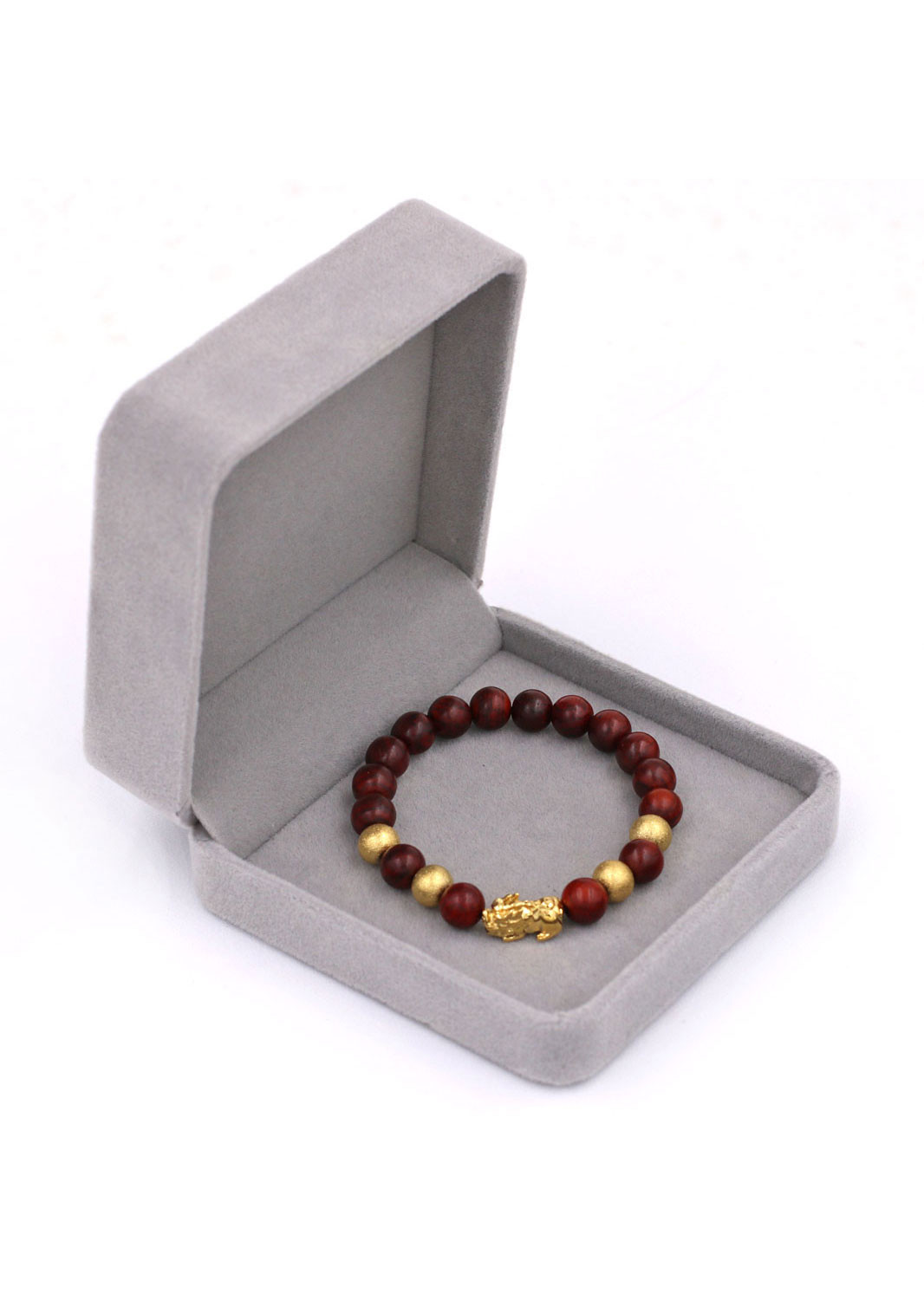 Vòng đeo tay Tỳ hưu inox vàng - Chuỗi gỗ đỏ 8 ly VGOTHVB8 - Vòng tay phong thủy