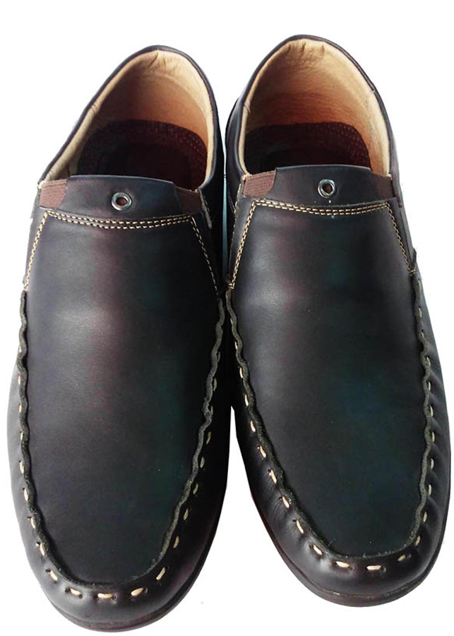 Giày Mọi Giày Lười Nam Da Bò Thật Thời Trang - TC0172 - Đen