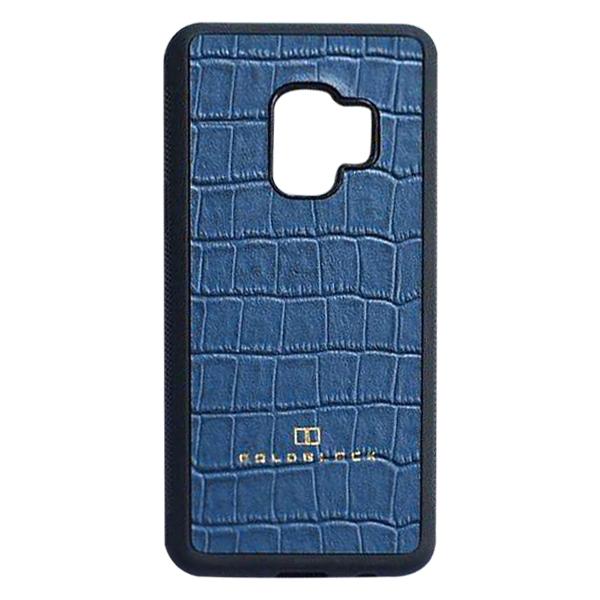 Ốp Lưng Da Bò Thật Vân Cá Sấu Độc Lạ Goldblack Cho Samsung S9 + Tặng Logo - Xanh Đá