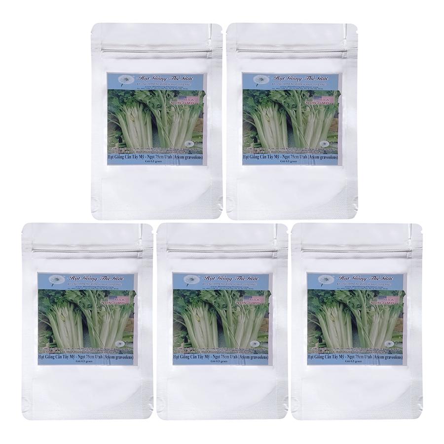 Bộ 5 Túi Hạt Giống Cần Tây Mỹ - Ngọt 75cm Utah (Apium Graveolens) (0.5g/Túi)