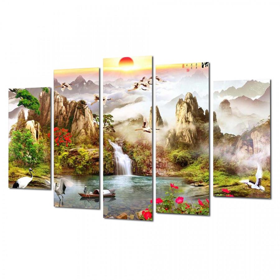 Tranh Treo Tường Thác nước sơn thủy ST912033- Tranh treo tường đẹp