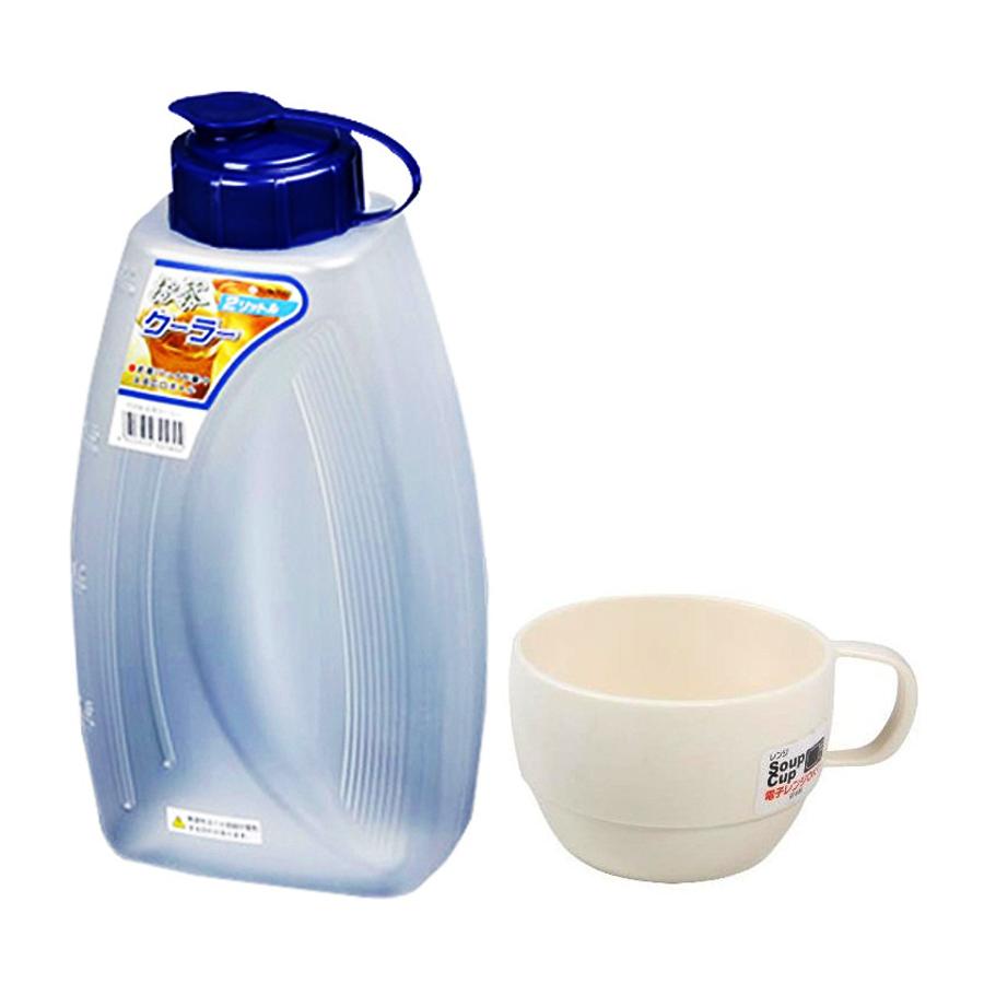Combo Bình đựng nước 2L + Cốc uống nước dáng thấp cao cấp Inomata nội địa Nhật Bản (giao màu ngẫu nhiên)