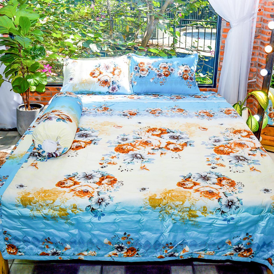 Bộ sản phẩm 5 món , đặc biệt chăn gối chần gòn vải cotton hoa P04