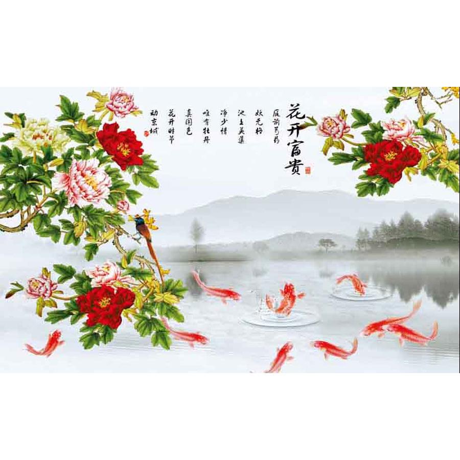 Tranh dán tường phong thủy hoa sen cá chép 3d 342
