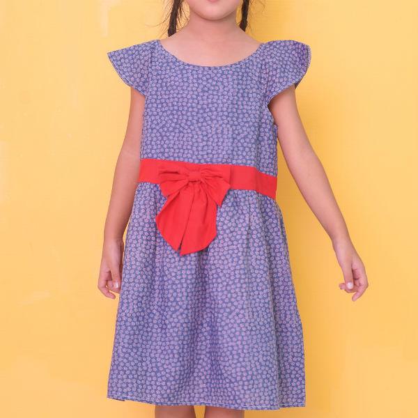 Đầm Xòe Bé Gái Kèm Nơ Đỏ Ugether UKID208 - Xanh Đậm
