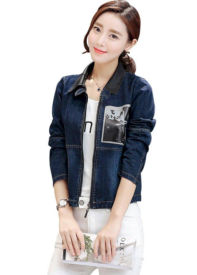 Áo khoác jean nữ in hình