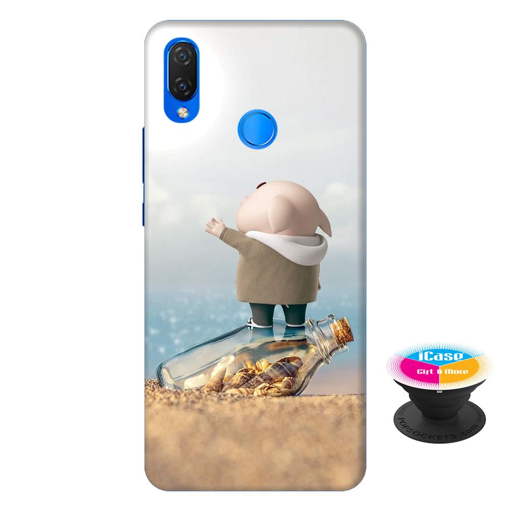 Ốp lưng nhựa dẻo dành cho Huawei Nova 3i in hình Heo Con Cầu Cứu - Tặng Popsocket in logo iCase - Hàng Chính Hãng