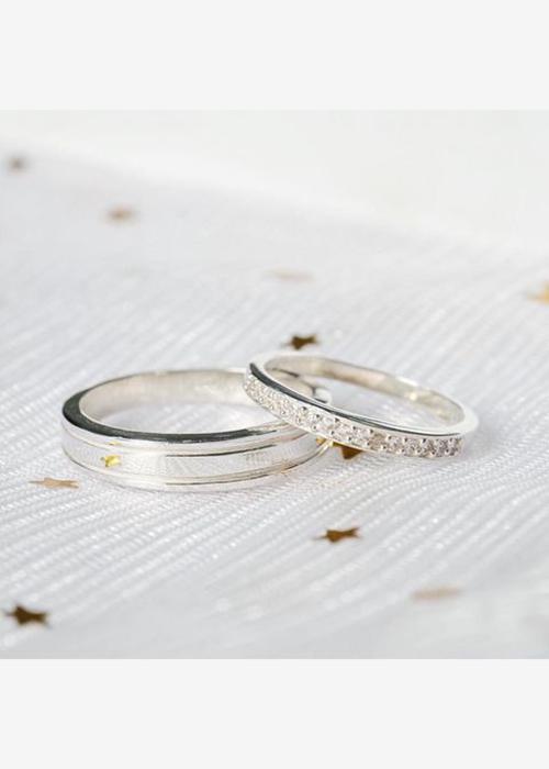 Nhẫn đôi bạc cao cấp NS285
