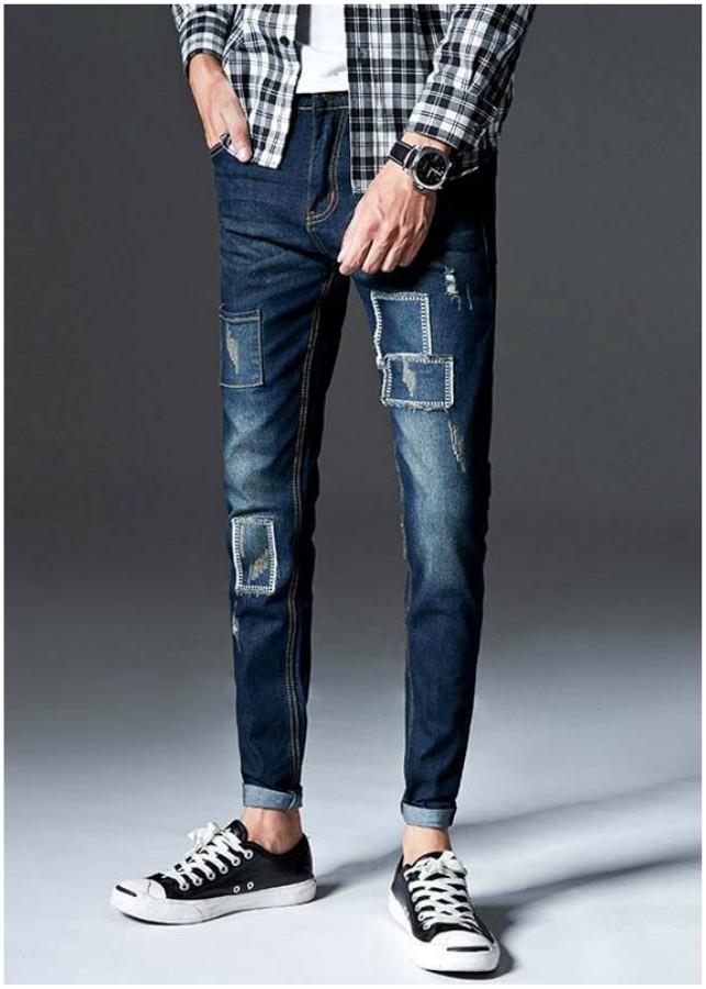 Quần jeans nam chắp vá rách Mã: ND1194