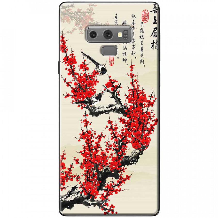 Ốp lưng dành cho Samsung Galaxy Note 9 mẫu Hoa đào đỏ thư pháp