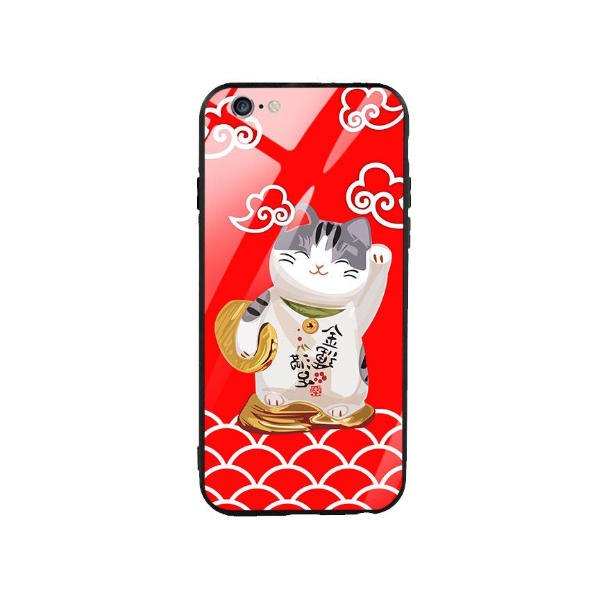 Ốp lưng kính cường lực cho điện thoại Iphone 6 Plus / 6s Plus - Mèo May Mắn 01