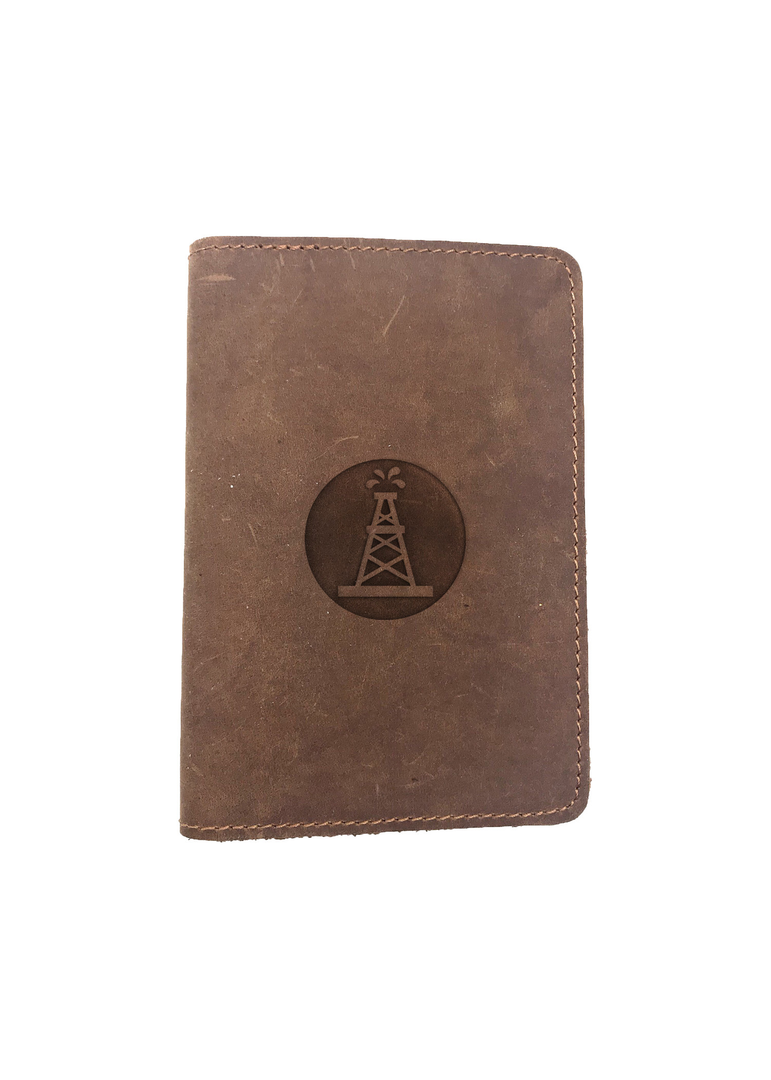 Passport Cover Bao Da Hộ Chiếu Da Sáp Khắc Hình Hình OILFIELD ROUGHNECK (BROWN)