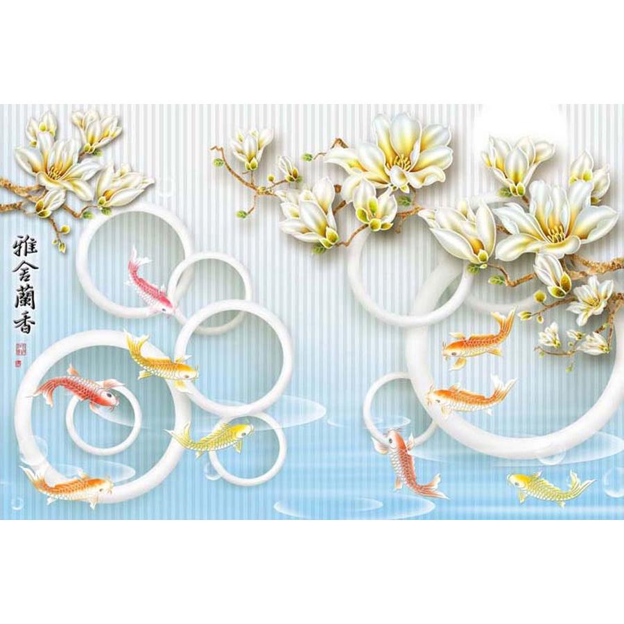 Tranh dán tường phong thủy hoa sen cá chép 3d 298