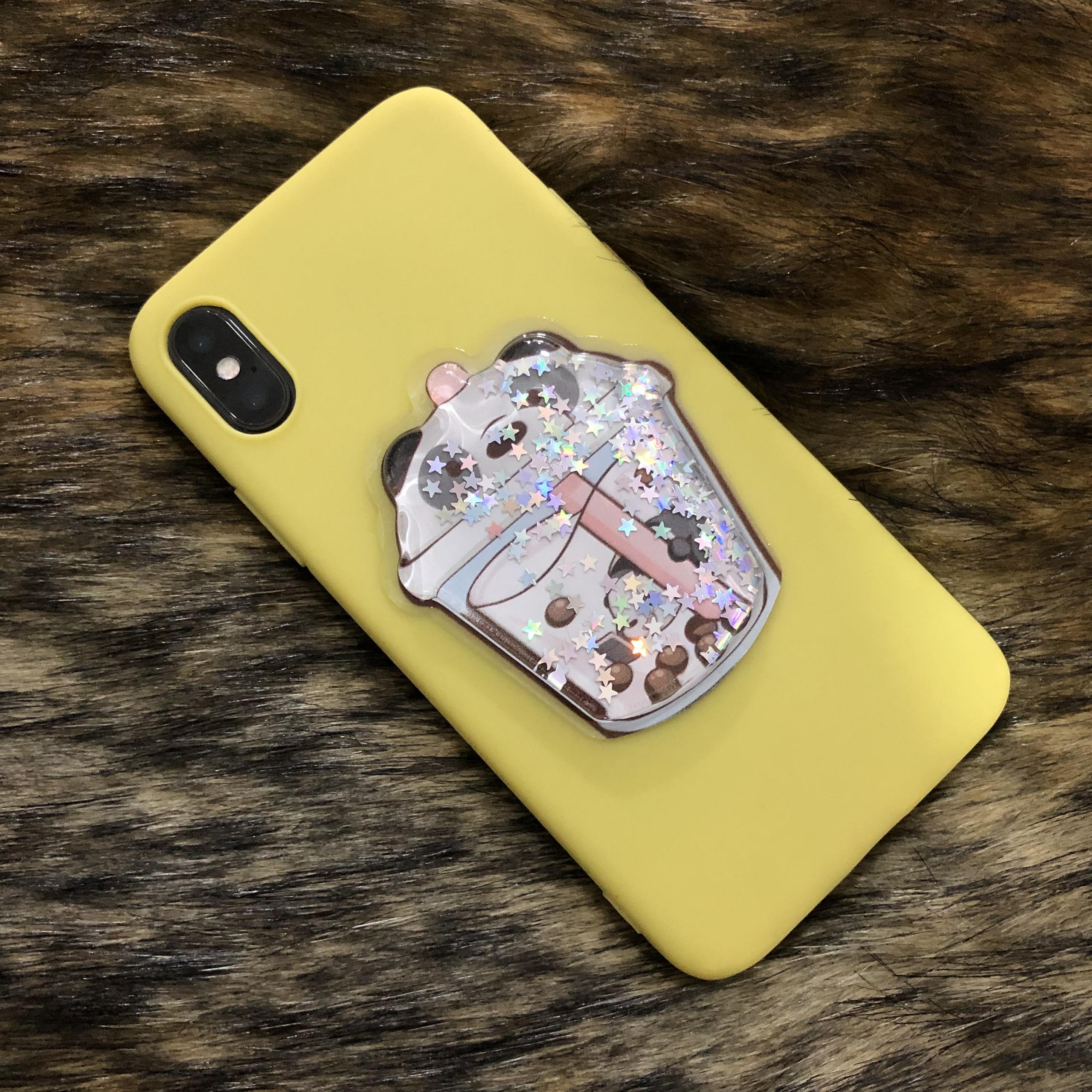 Ốp Dẻo TPU Hình Trà Sữa Nổi Dành Cho Iphone - Màu Vàng