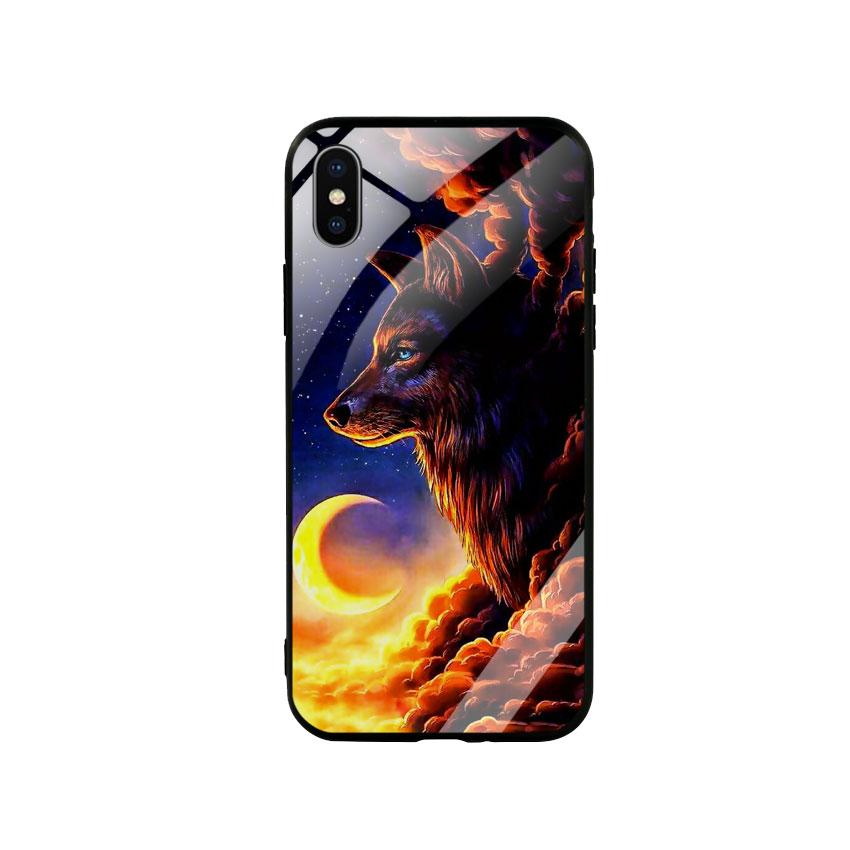 Ốp Lưng Kính Cường Lực cho điện thoại Iphone X / Xs - Wolf 03