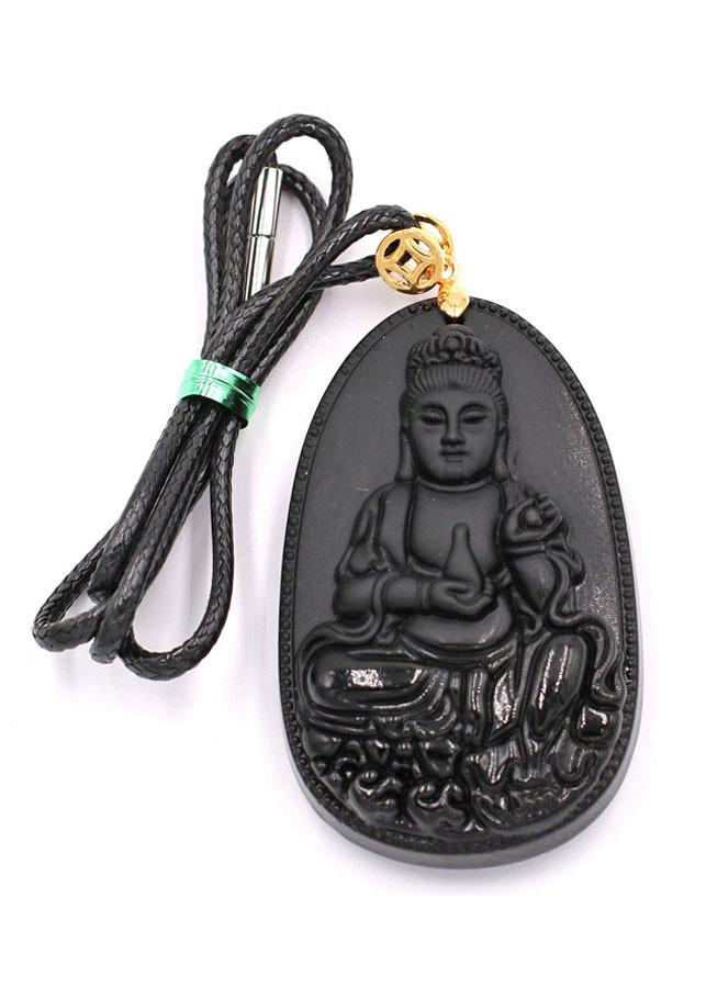 Vòng cổ Phật Quan âm đá thạch anh đen DEQAE6 - Đem lại bình an, thuận lợi trong công việc