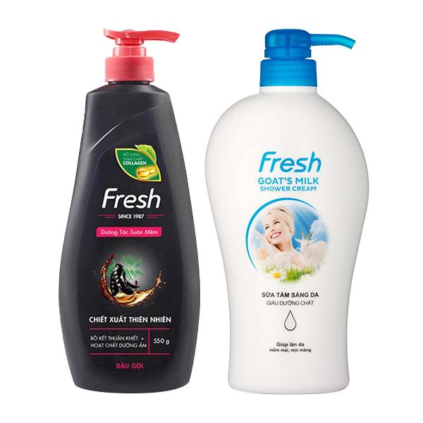Bộ dầu gội Bồ kết dưỡng tóc Fresh 550g và sữa tắm Dê sáng da Fresh 550g