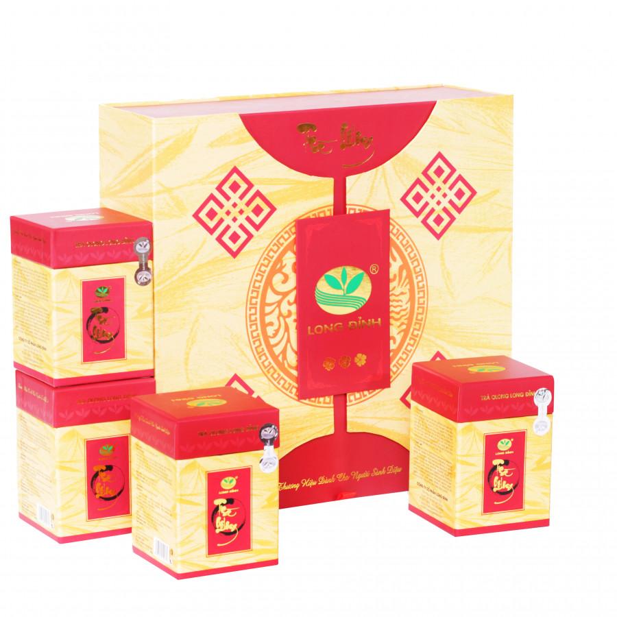Bộ trà Ô Long Ba Bông Mai Đỏ Long Đỉnh (hộp 400 gram)