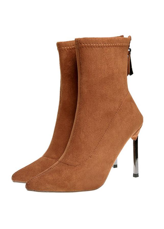 Giày bốt nữ cổ lửng da lộn sành điệu màu da bò GBN19002