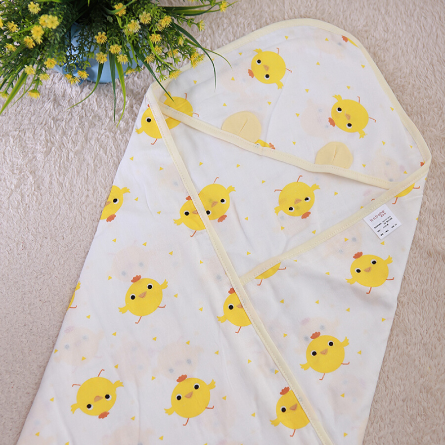 Chăn Quấn Bé Sơ Sinh Hi Baby Vải Cotton 4 Lớp 90*90cm- Vàng