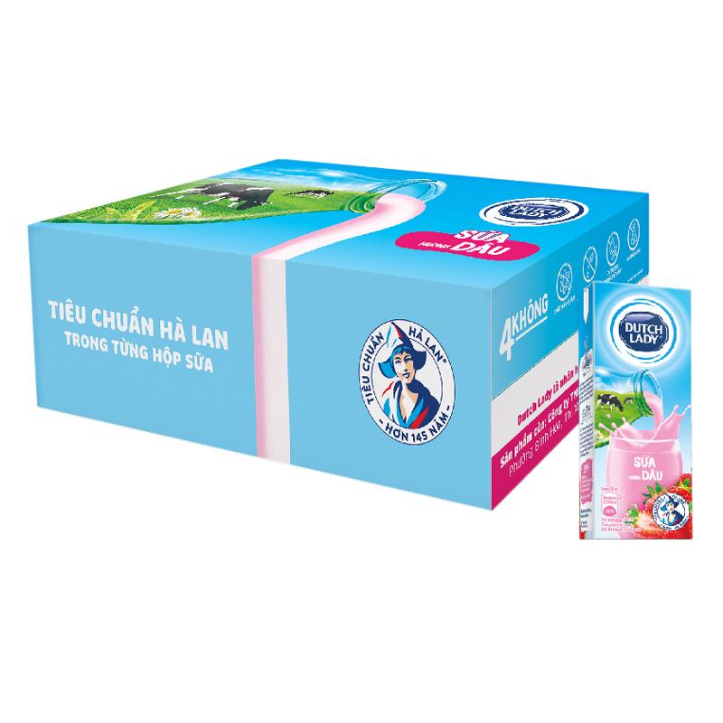 Thùng 48 Hộp Sữa Tươi Tiệt Trùng Dutch Lady Dâu (180ml / Hộp)