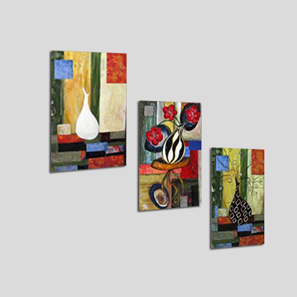 Bộ tranh 3 tấm hình chữ nhật treo cầu thang - chất liệu giấy ảnh phủ kim sa - tranh gỗ treo tường