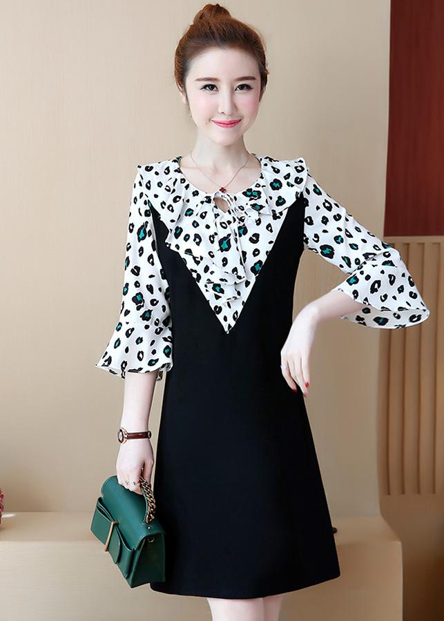 Đầm suông dạo phố kiểu đầm suông tay loe phối cổ cột nơ ROMI1735
