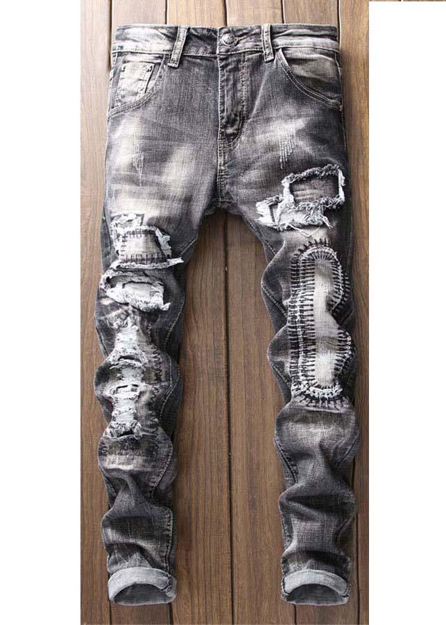 Quần jeans nam rách chắp vá Mã: ND1144