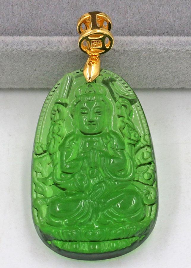 Mặt phật Thiên Thủ Thiên Nhãn thủy tinh xanh lá 3.6cm