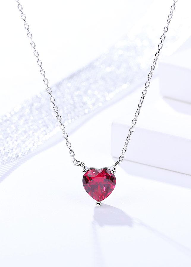 Dây Chuyền Bạc Ý S925 Tinh Khiết Hình Trái Tim Đỏ DB2325 Món Quà Dành Tặng Bạn Gái Bảo Ngọc Jewelry