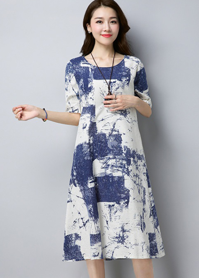 1871694192598 - Đầm trung niên, đầm suông dáng dài họa tiết đẹp Haint Boutique da108