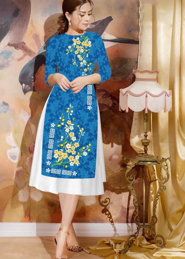 1365792292682 - Sét Áo Dài Cách Tân In Hoa Mai Và Chân Váy Xòe - GTA462