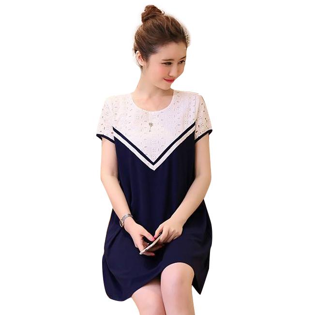Váy Bầu Đen Phối Ren Nổi - MYC 1144