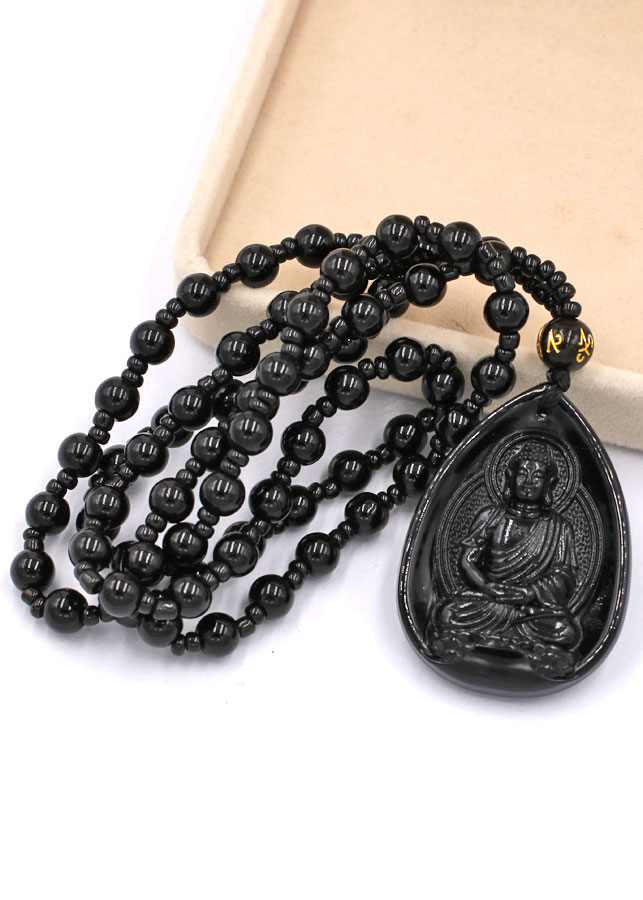 Vòng cổ Dược Sư Lưu Ly Quang Vương Phật thạch anh đen 4 cm DHEDS9