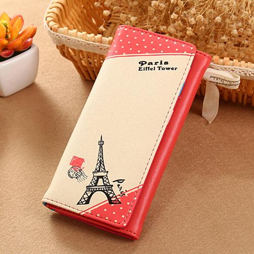 Fashion Eiffel Tower Long Wallet ID Card Holder Clutch Button Closure Lady Purse