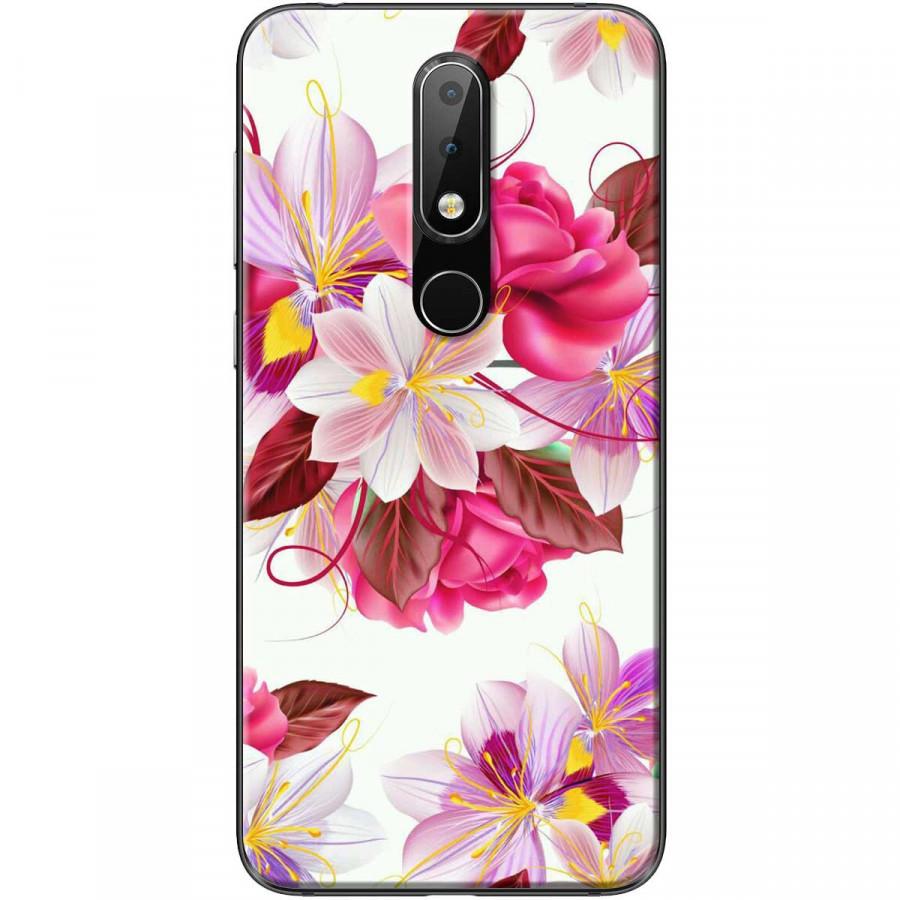 Ốp lưng dành cho điện thoại Nokia 6.1 Plus Mẫu Hoa hồng trắng