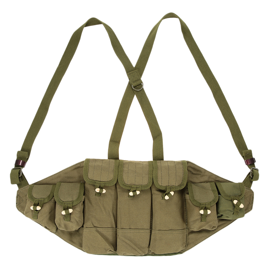 Outdoor Canvas Vest Ammo Chest Rig Magazine Carrier Combat Vest Army Hunting Pouches Platform