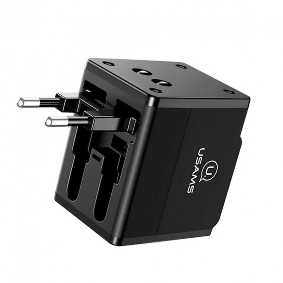 Travel Wall Charger Global Conversion Socket Durable EU US UK AU Plug Dual USB World Outdoor