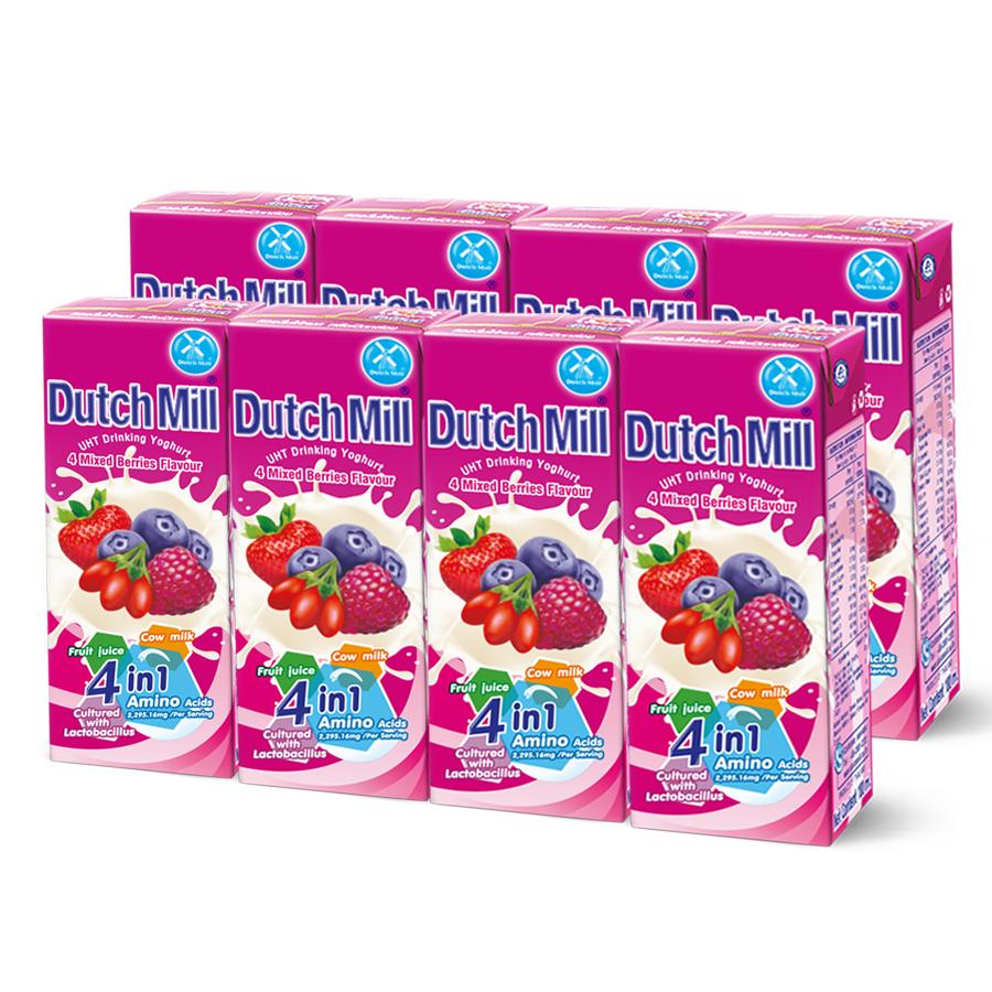 Combo 2 Lốc Sữa Chua Uống Dutch Mill Vị Berry Tổng Hợp (180ml x 8 hộp)