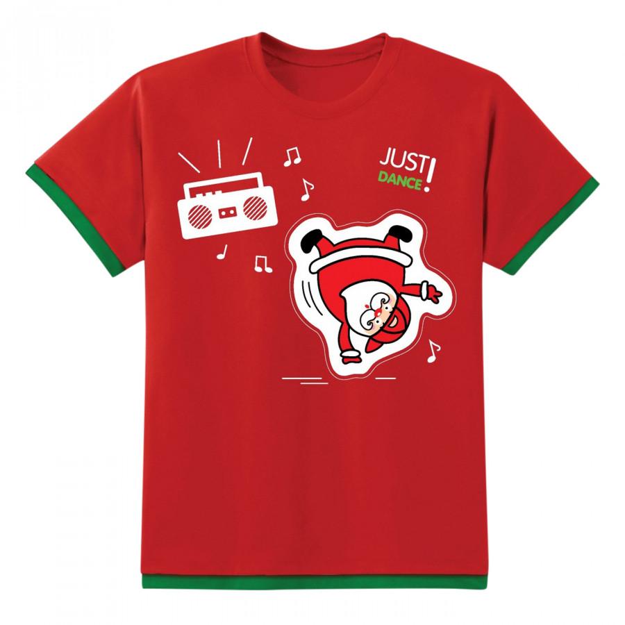 Áo Thun Tay Ngắn Đèn Chớp 7 Màu Kibu NE16-KD03-R Hình Ông Già Noel Nhảy Múa - Đỏ