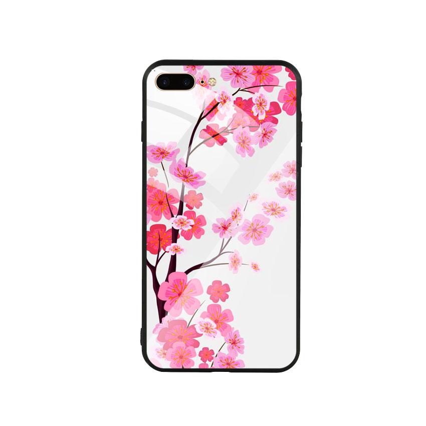 Ốp Lưng Kính Cường Lực cho điện thoại Iphone 7 Plus / 8 Plus - Cherry Blossom 02