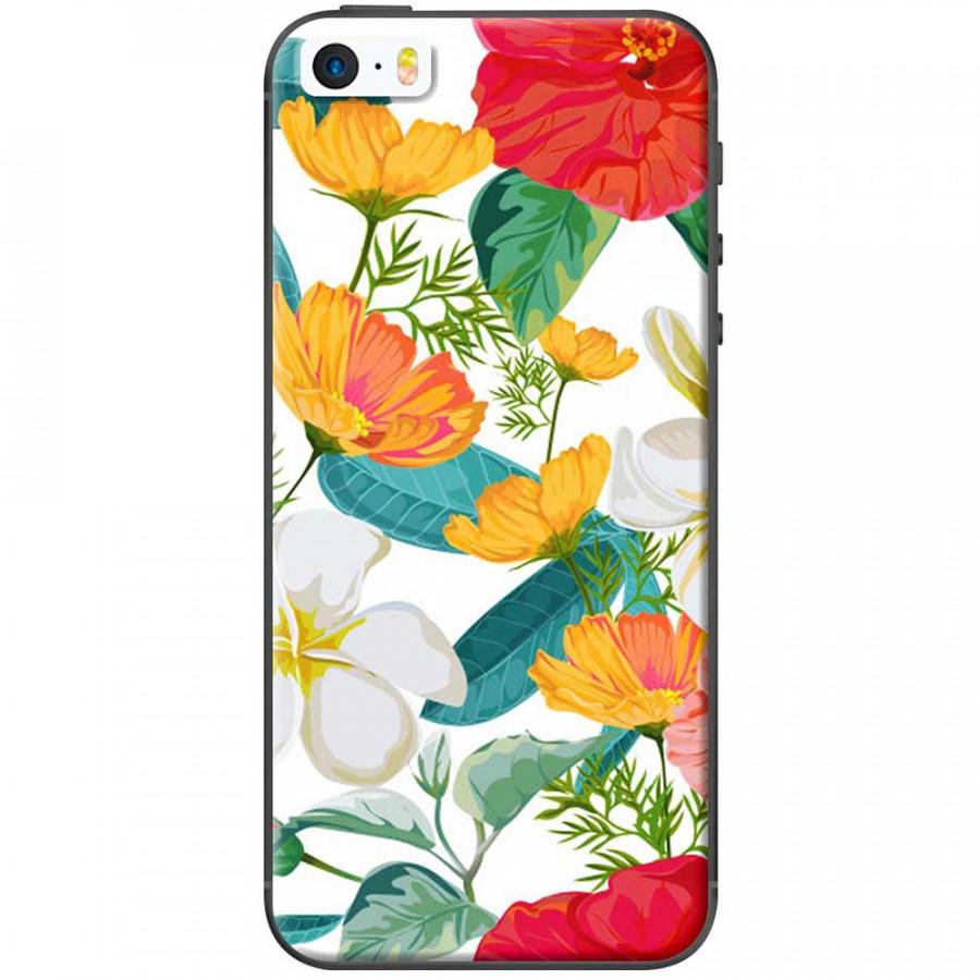 Ốp lưng dành cho iPhone 5, iPhone 5S, iPhone SE mẫu Hoa nhái